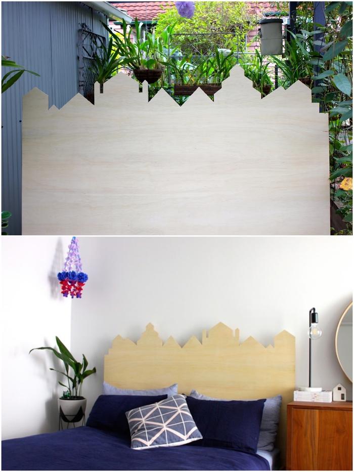 idées pour relooker la chambre à coucher à petit budget, tuto tete de lit au design original silhouette de ville découpée dans un panneau de contreplaqué