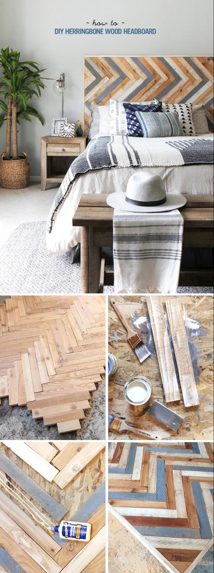 tuto tete de lit originale à motif chevrons réalisée avec des planchettes de bois en couleurs différentes