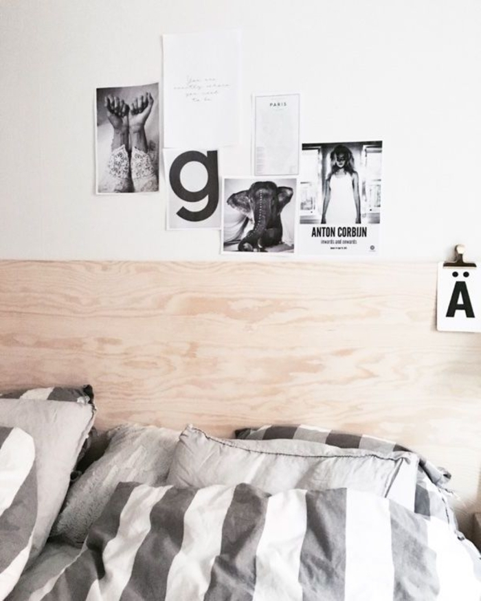 tête de lit composée d'un simple panneau de contreplaqué qui s'inscrit parfaitement dans l'ambiance épurée de la chambre, idee tete de lit en bois au design minimaliste