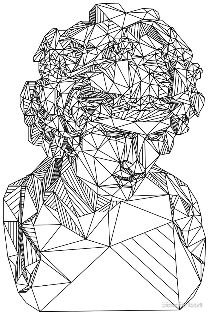 Tracé symbole de geometrie dessin simple à faire soi meme femme lignes statue