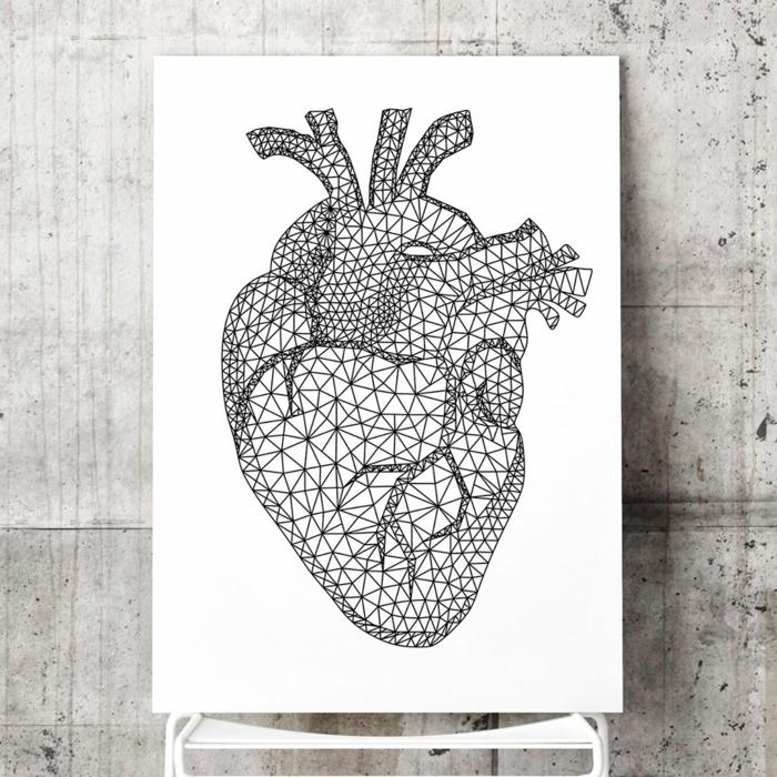 Un dessin géométrique avec explication cool idée dessin coeur anatomique