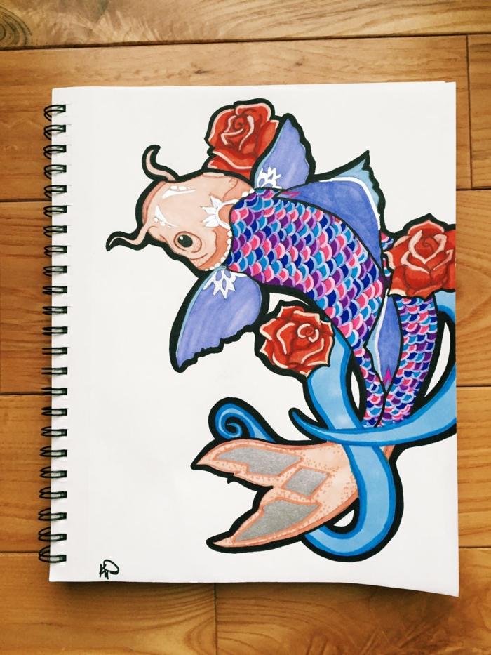 Quel dessin géométrique facile réaliser aujourd hui poisson japonais coloré