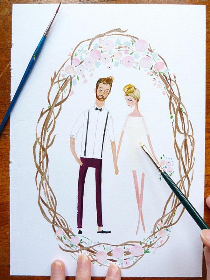 Noces image pour un mariage dessin illustration mariés invitation mariage dessin personnalisé