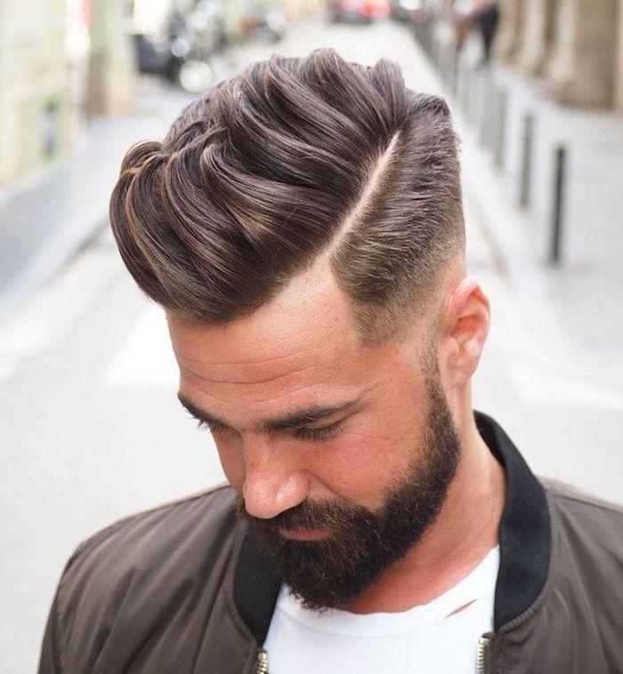 coupe de cheveux homme degrade progressif avec trait