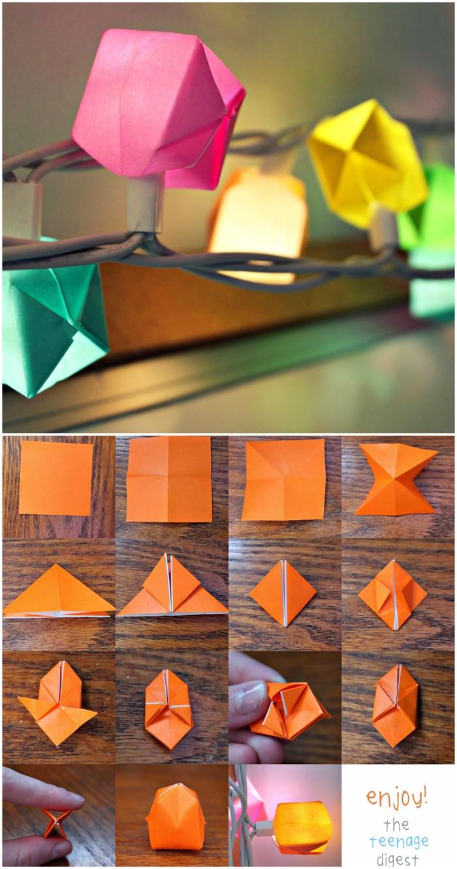 déco originale avec une guirlande lumineuse décorée de ballons en origami, tuto origami facile pour bien commencer dans l'art de pliage de papier
