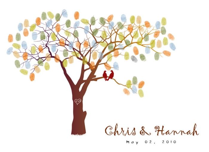 couverture pour un album photo scrapbooking à thème mariage avec dessin oiseaux et arbre au feuillage coloré