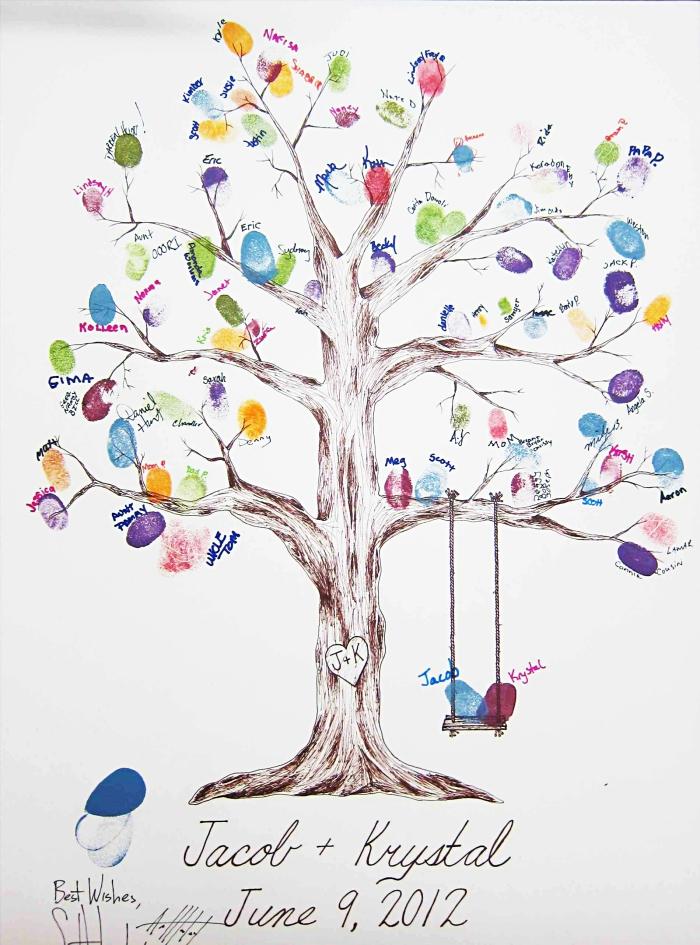 dessin en couleurs avec un balançoire et arbre au feuillage avec empreintes d'encre colorées