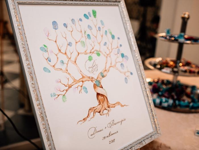 dessin d'arbre vierge avec feuillage en empreintes colorés mis en cadre photo luxueux aux finitions dorées