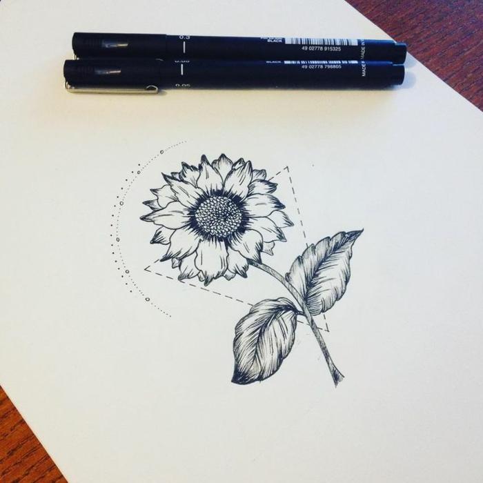Dessin géométrique à reproduire idée dessin simple tuto tournesol tatouage dessin