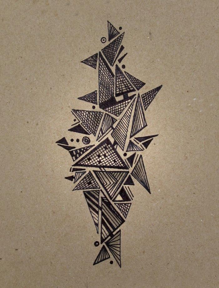 Tirer une ligne dessin avec des formes géométriques triangle dessin composition des lignes