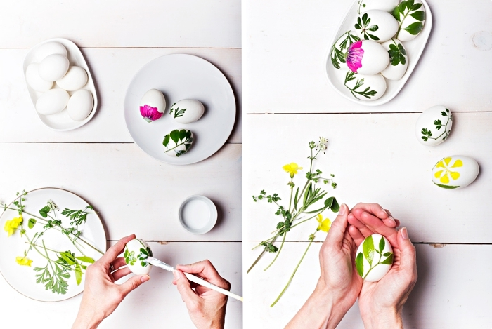 comment faire une déco originale pour la fete de paques, coller fleurs et feuilles sur coquilles blanches