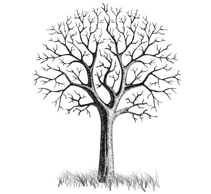 dessin blanc et noir d'un arbre sans feuillage à décorer avec les empreintes des invités au événement spécial
