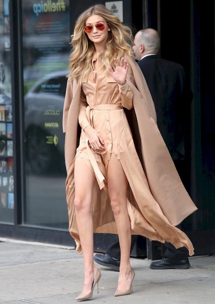 comment s'habiller en couleurs beige avec tailler femme nude et manteau camel, vision féminine de Gigi Hadid
