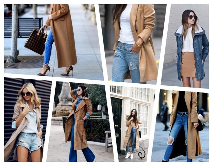 sac cuir camel foncé et noir à porter avec chaussures à talons et jeans slim, tenue chic en jeans déchirés avec pull noir et manteau long