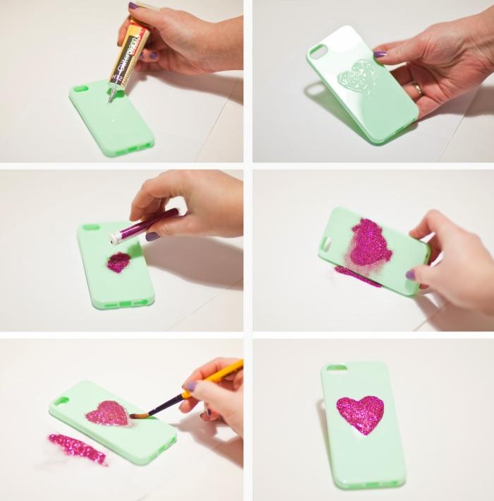 tutoriel avec les étapes à suivre pour décorer sa coque portable de couleur vert avec un coeur en glitter rose