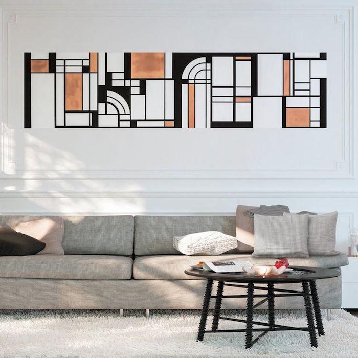 grand tableau original pour salon, peinture art déco pour intérieur abstrait