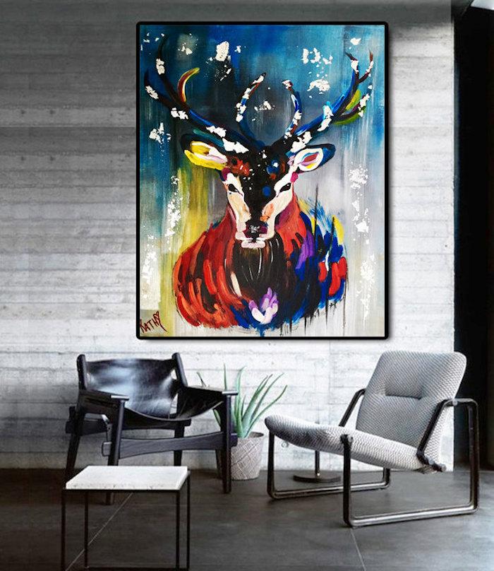 modele tableau pour deco de salon, peinture animal abstrait en couleurs pour décoration