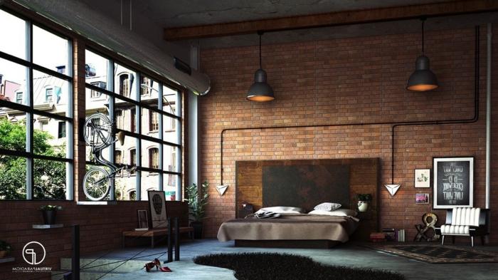 grande fenêtre industrielle dans une chambre à coucher, lampes industrielles, plafond en béton