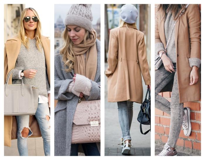 sac cuir camel à combiner avec une paire de jeans déchirés et un pull loose, modèle de manteau long et gris avec bonnet et écharpe