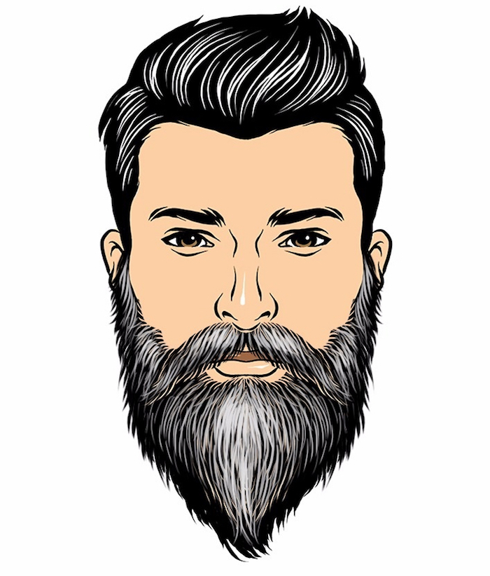 modele de barbe poivre et sel dégradé mature barbu homme