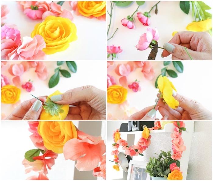 guirlande de fleurs artificielles de fleurs colorées enfilées sur un fil pour décorer une étagère blanche, activité manuelle pour ado