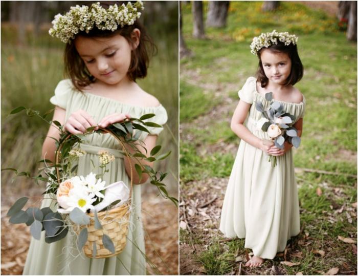 Robe de fete fille robe mariage petite fille robe stylée pour une petite fille robe vert claire
