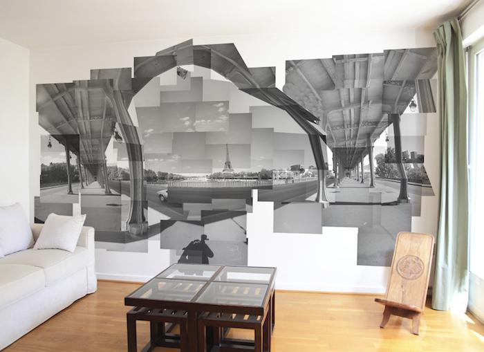 décoration trompe l'oeil paris, décorer mur de salon avec photo géante