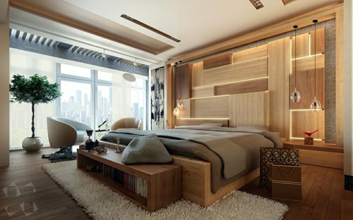 tapis blanc, banquette de lit en bois, panneaux muraux 3d, habiller un mur de manière originale