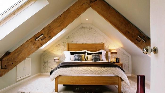 chambre rustique scandinave en bois et blanc, mur en briques blanches, idée déco comble aménageable
