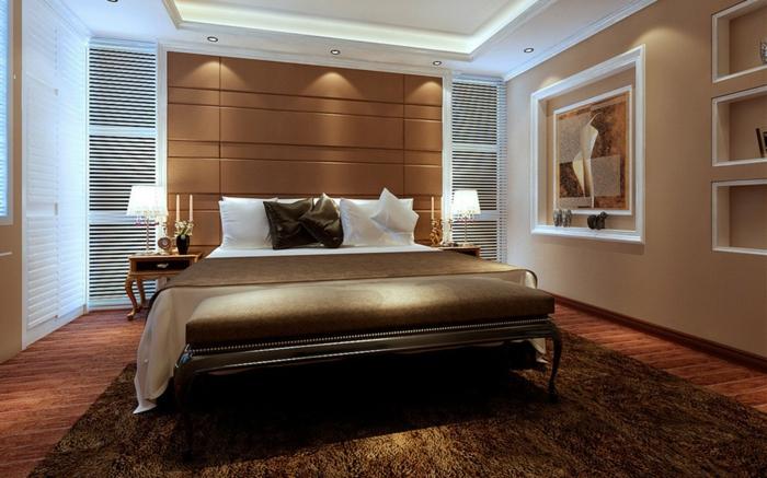 jolie chambre à coucher en beige et marron, banquette de lit, mur couleur pêche, encadrements blancs