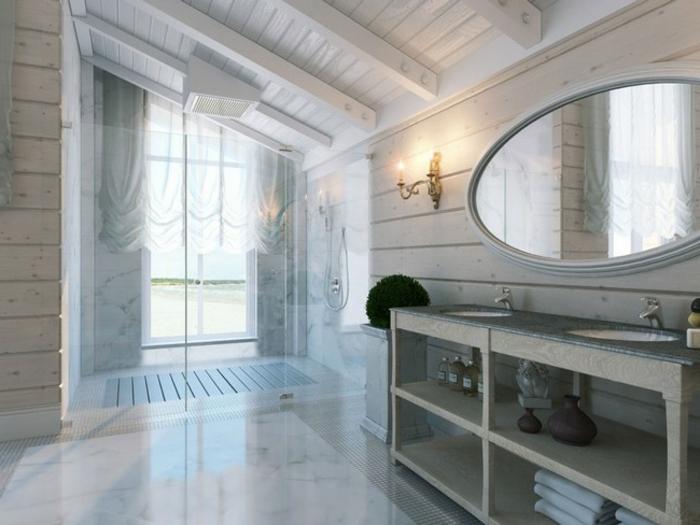 idee salle de bain petite surface, déco shabby chic, miroir ovale, applique murale ancienne