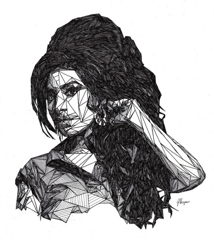 Idée dessiner des figures géométrique comment dessiner Amy Winehouse dessin portrait géométrique