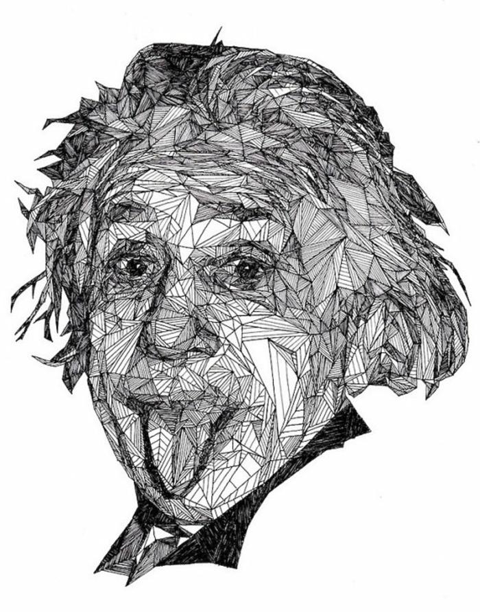 Les dessins géométriques idée comment dessiner lignes EInstain portrait géométrique noir et blanc