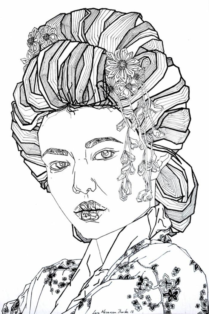 Magnifique dessin forme géométrique beau dessin pas a pas portrait geisha geometrique