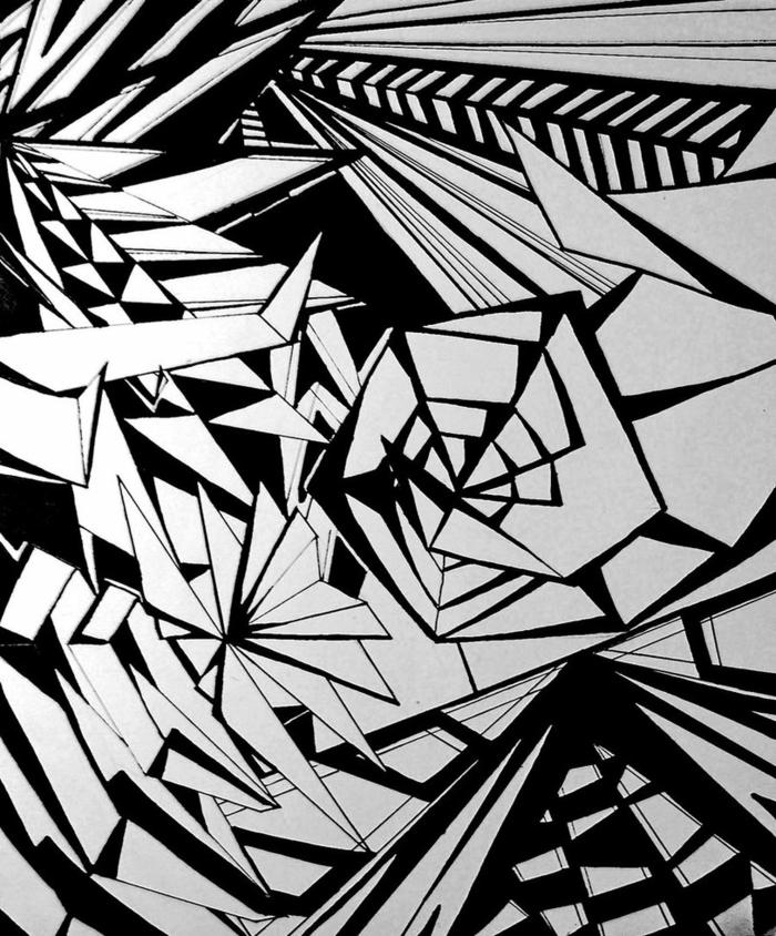 Construction géométrique dessin de géométrie idée abstrait dessin noir et blanc