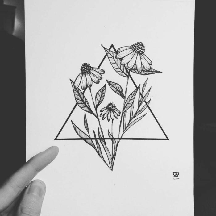 Dessin noir et blanc géométrique triangle avec fleurs dedans dessin geometrique idee dessin pour tatouage