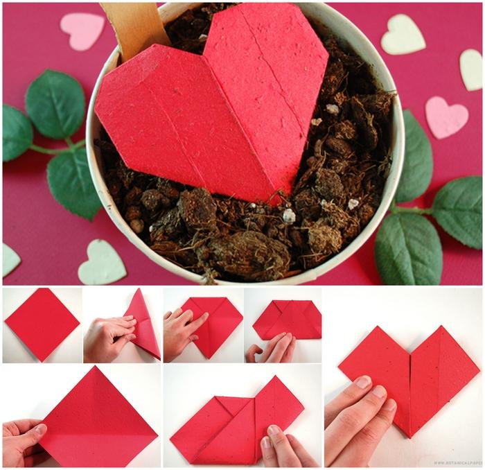 idée pour un bricolage de saint-valentin original, tuto origami facile pour réaliser une boîte à graines en forme de coeur