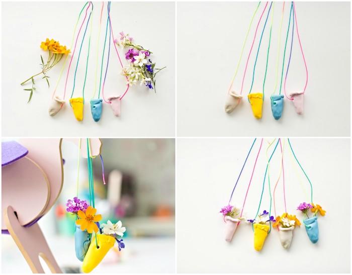 idée de collier originaux en pate fimo avec des fleurs à l intérieur, cadeau fete des meres a faire soi meme et activité manuelle primaire