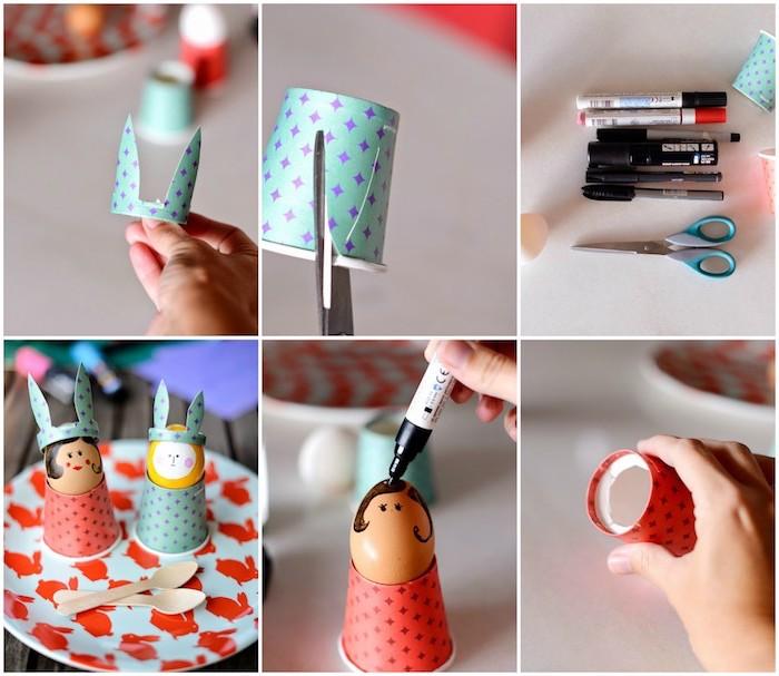 activité manuelle primaire des gobelets en papier colorés pour réaliser un coquetier pour des oeufs colorés, petits bonhommes originaux
