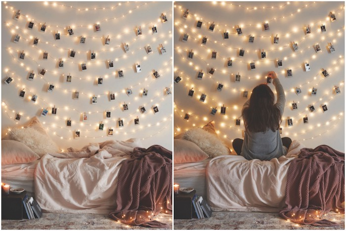 tutoriel pour fabriquer une tete de lit lumineuse en guirlande lumineuse et pele mele de photos, linge de lit cocooning, chambre tumblr, hygge deco