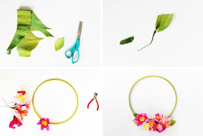 comment faire une couronne de printemps en anneau vert en plastique avec des fleurs accrochées, que faire avec du papier crépon