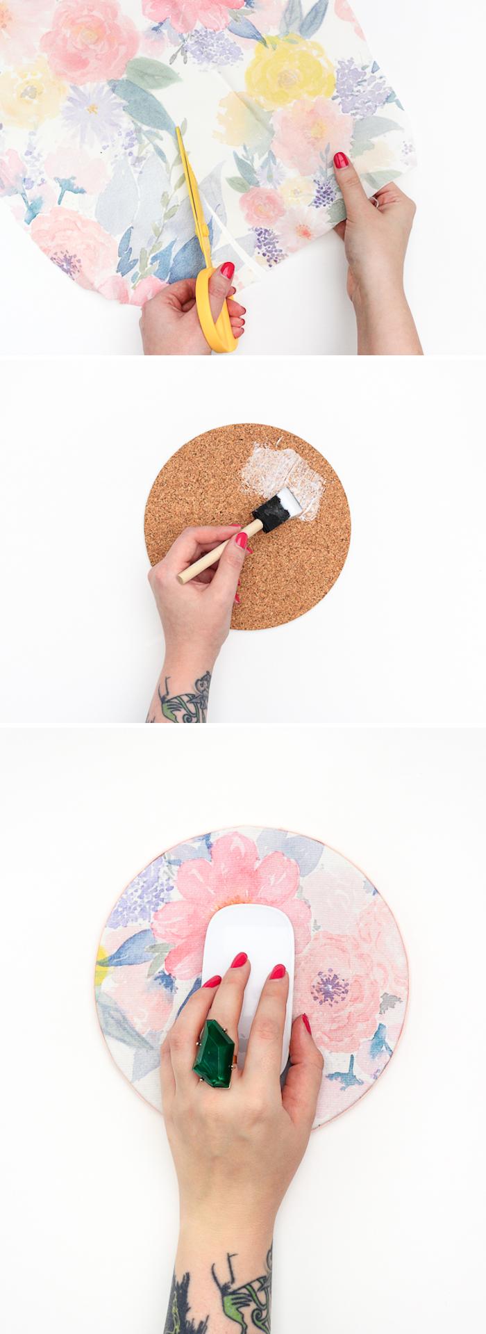 idée d activité manuelle facile et rapide, tapis de souris en dessous de plat en liège décoré de tissu coloré à imprimé floral