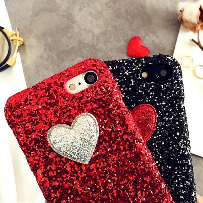 modèle de coque portable personnalisé pour la fête de la Saint Valentin en glitter noir et rouge avec petits coeurs au centre