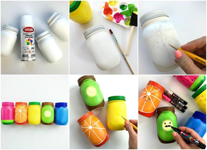 bricolage de printemps facile et rapide, pots à crayons fabriqués à partir de pots en verre customisés à motif fruit