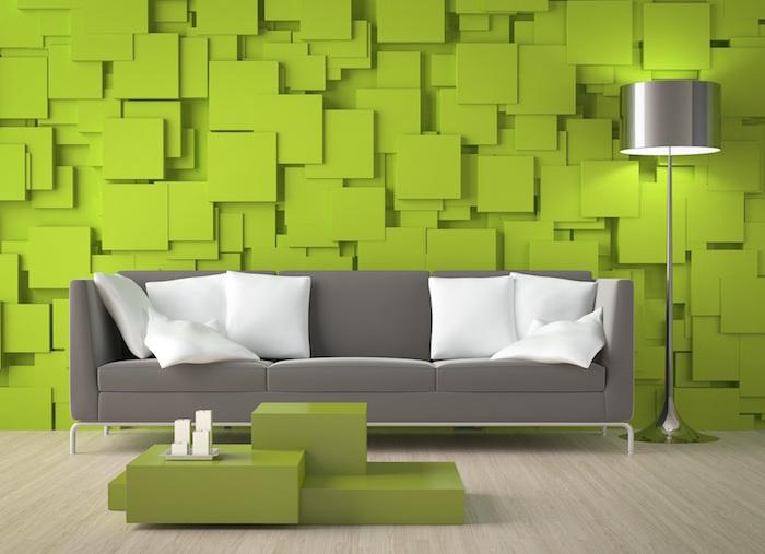 photo de deco murale relief, decoration de mur style cube en 3d, salon vert et gris
