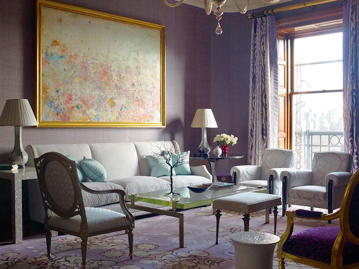 déco salon vintage violet, decoration avec couleurs chaudes pour séjour retro