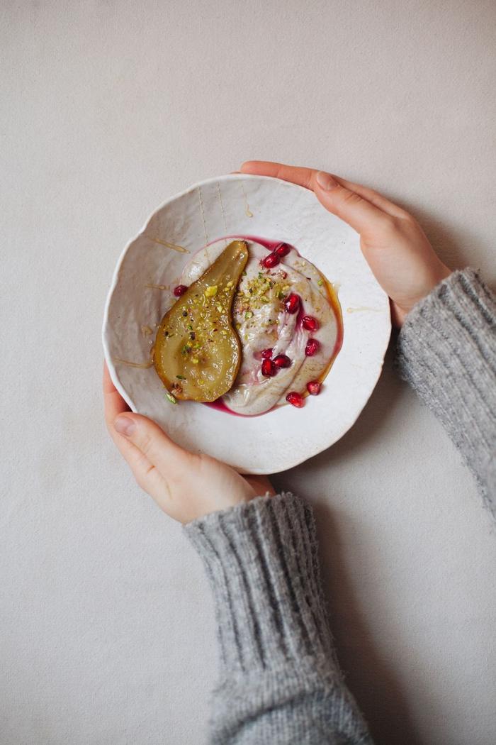 recette de dessert léger après raclette de poire caramélisée à la crème de cajou