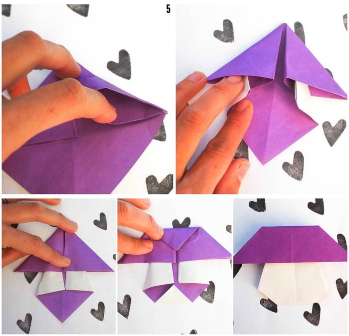 le pliage papier d'un modèle de champignon origami qui plaira aux adultes et aux enfants