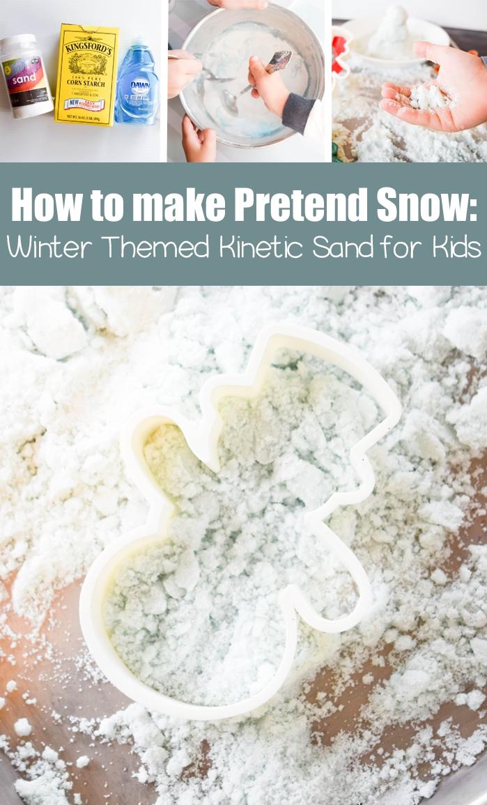 idées d'activités d'hiver à la maison avec du sable magique façon neige, recette de sable cinétique fait maison avec trois ingrédients