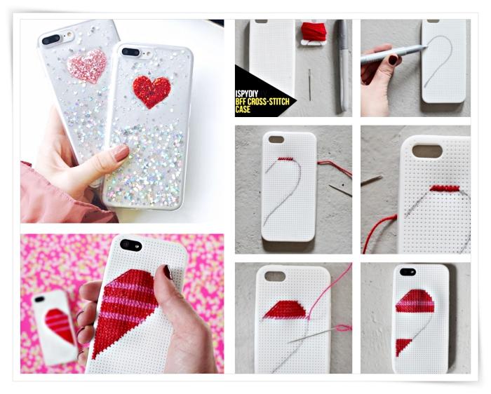 tutoriel avec les étapes à suivre pour faire une décoration originale pour son portable à design amour en coeur blanc et rouge